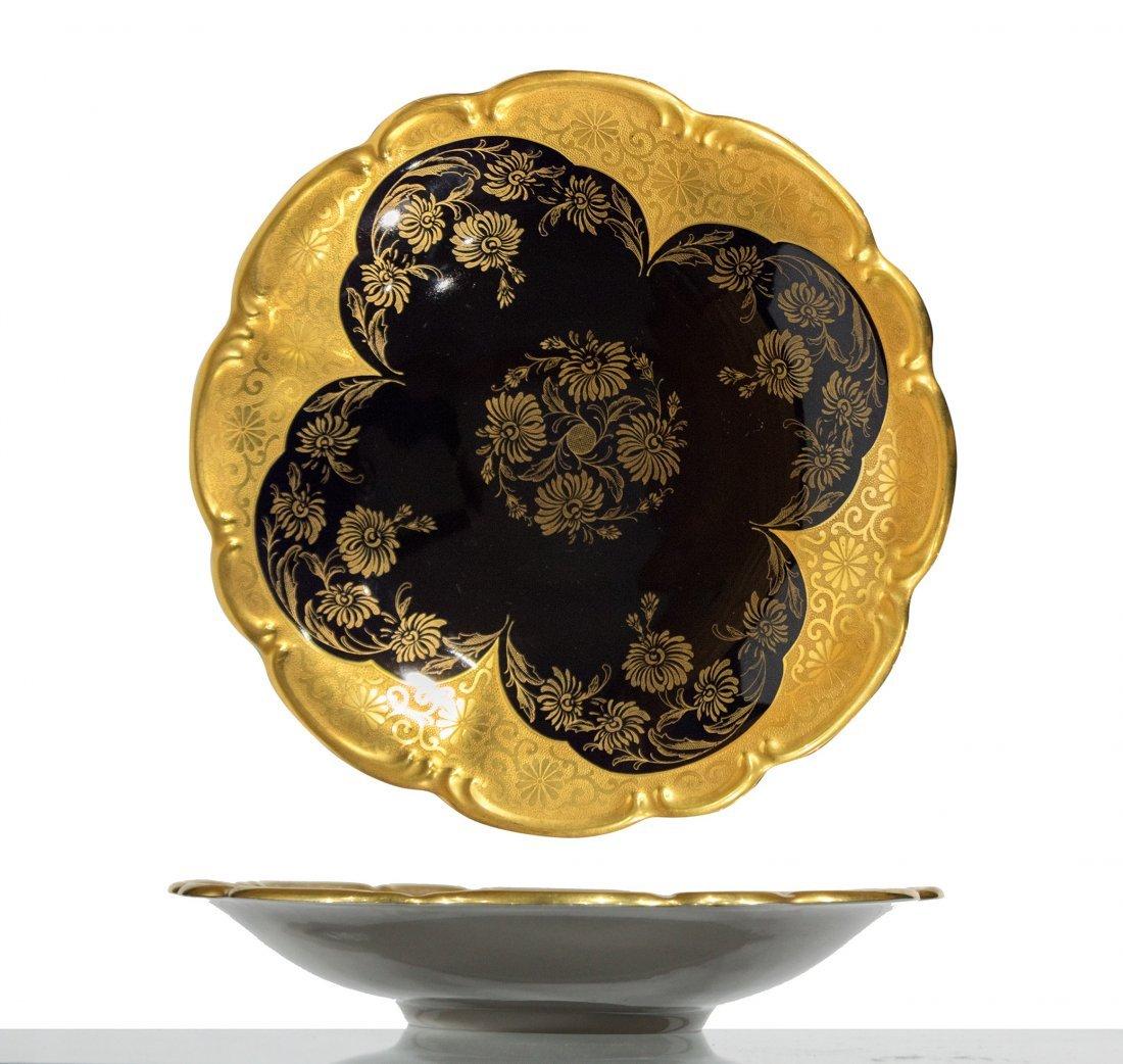 Lindner Bavaria Cobalt FOOTED BOWL Atzgold Handarbeit