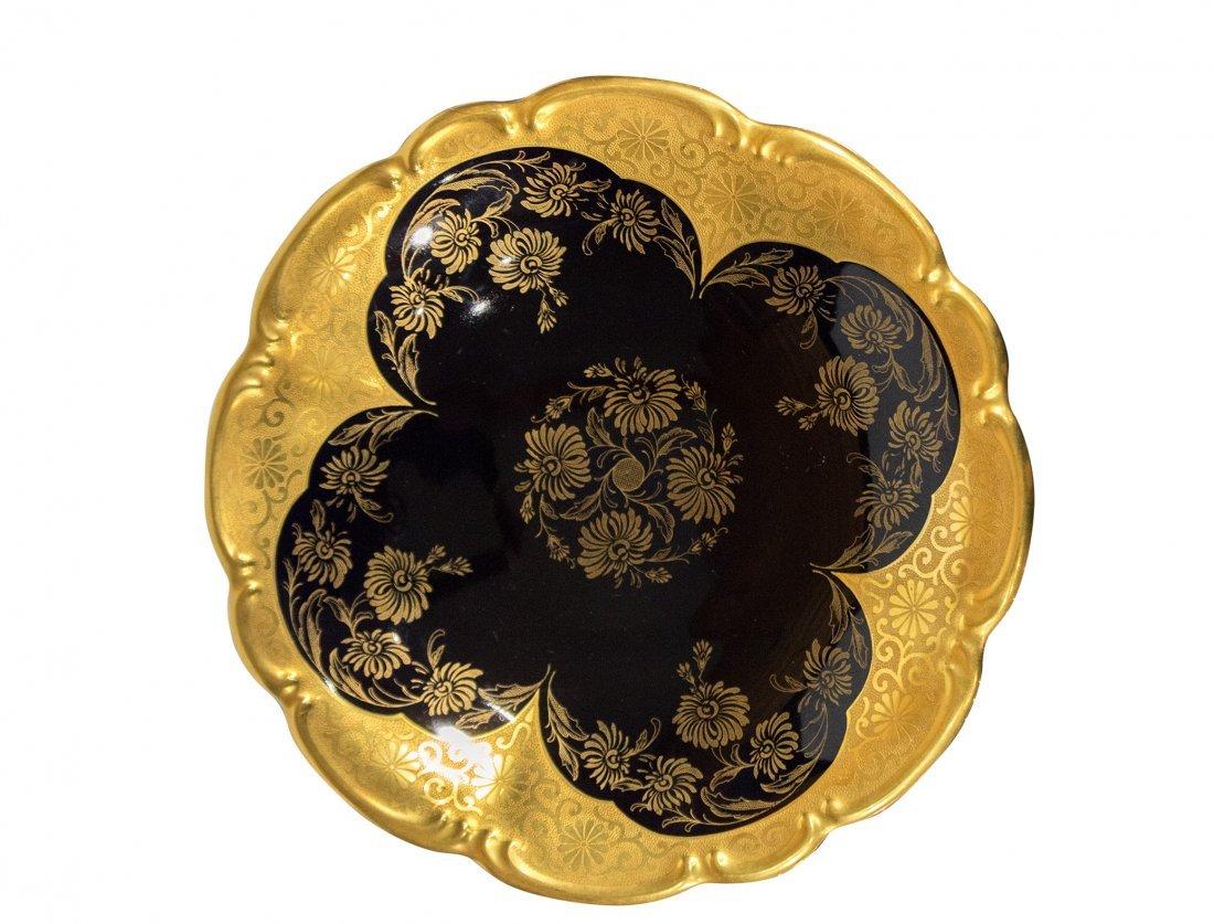 Lindner Bavaria Cobalt FOOTED BOWL Atzgold Handarbeit - 2
