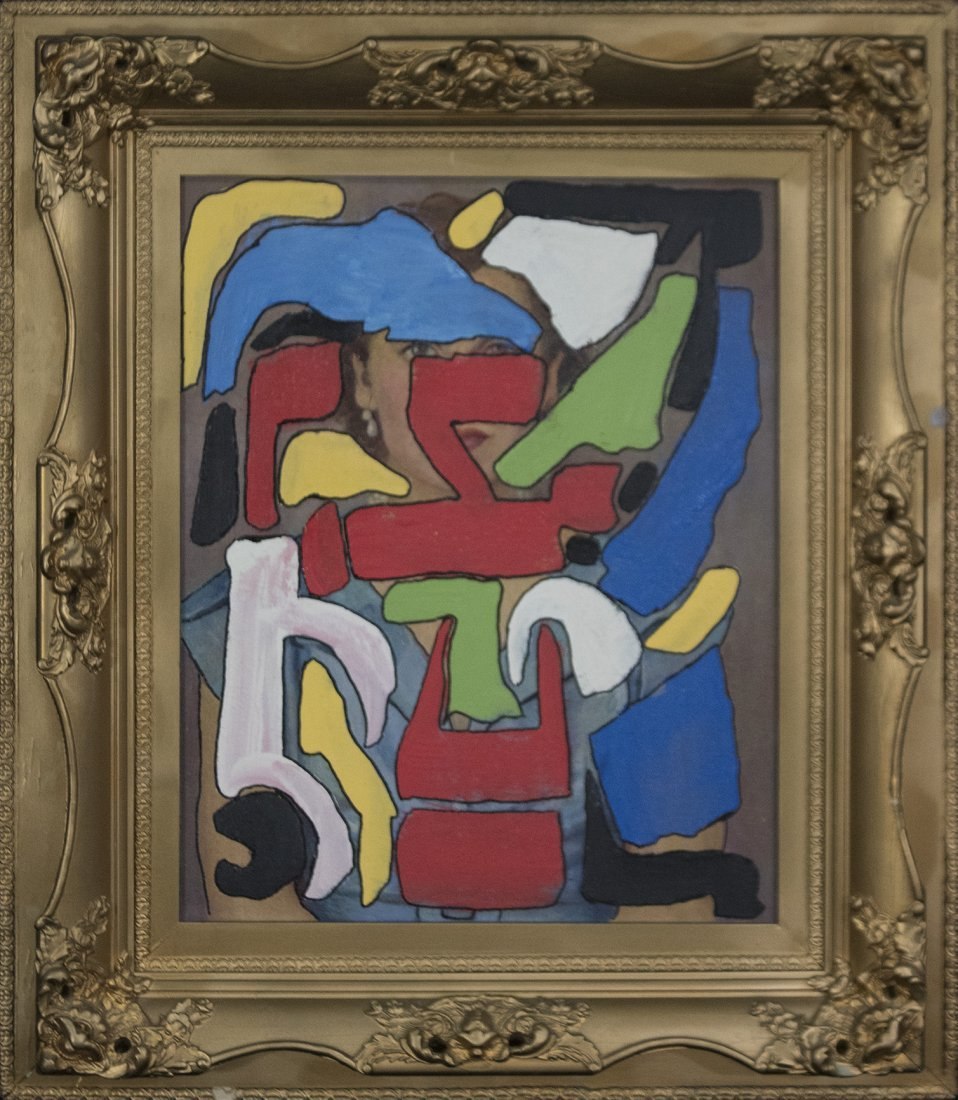 MID CENTURY MODERN ABSTRACT COMPOSITION OIL/C