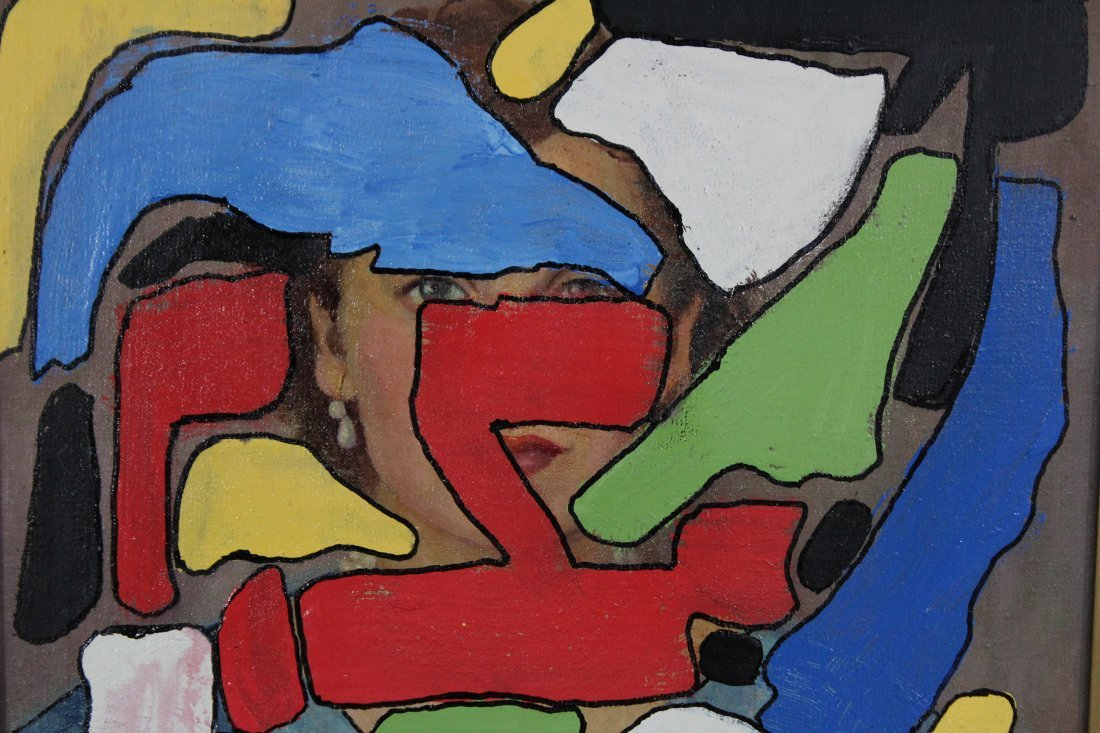 MID CENTURY MODERN ABSTRACT COMPOSITION OIL/C - 2