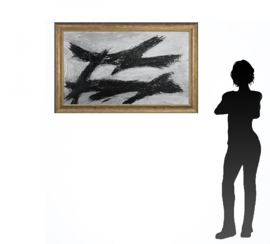 FRANZ KLINE attributed Mid Century Modern Abstract Oil. - 5