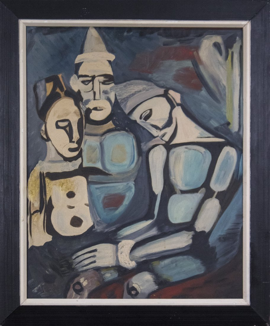 GEORGES ROUAULT 1871-1958 [attributed] OIL/B 3 Clowns