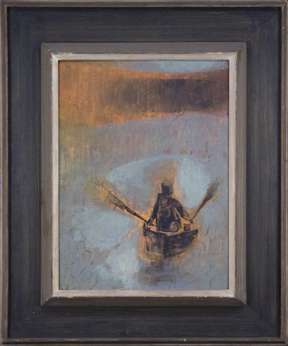 SI LEWEN Listed American Polish Artist OIL/b BOATMAN