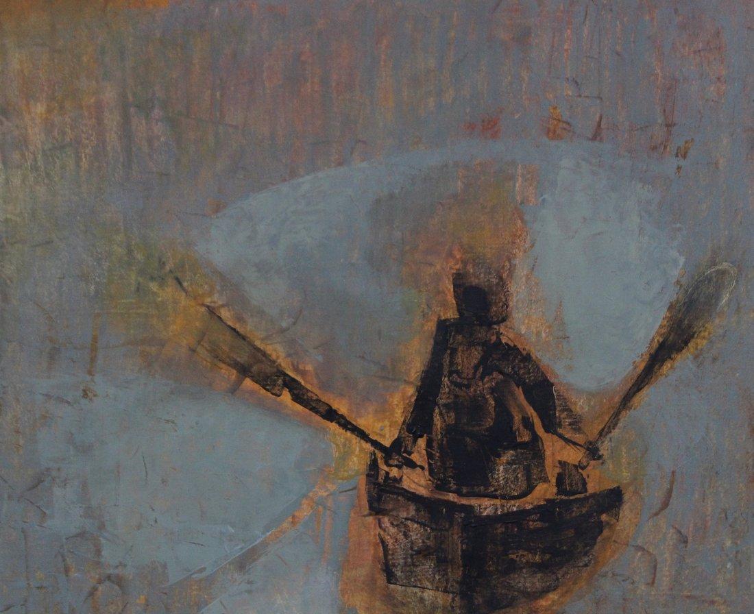 SI LEWEN Listed American Polish Artist OIL/b BOATMAN - 2