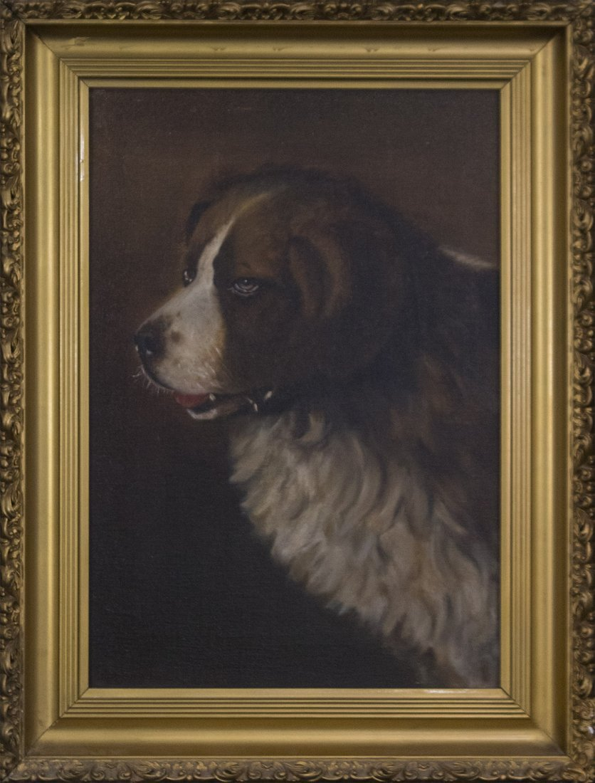 19th C. PORTRAIT OF A DOG Oil/c Signed Illegible