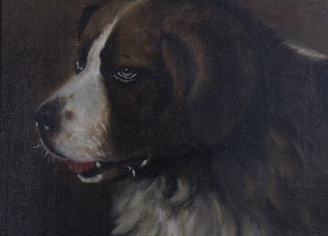19th C. PORTRAIT OF A DOG Oil/c Signed Illegible - 2