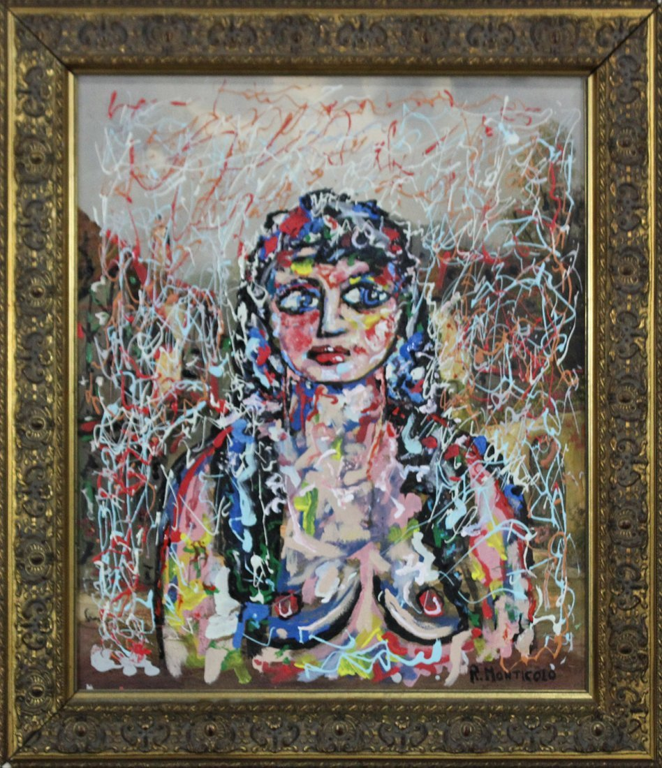 R MONTICOLO Oil/c Mid Century NUDE GIRL IN ABSTRACT