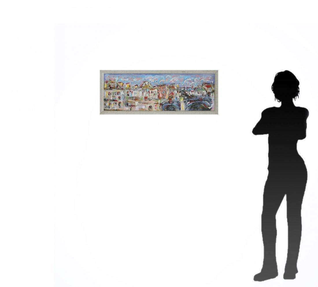 MID-CENTURY MODERN CITYSCAPE OIL PAINTING - 4