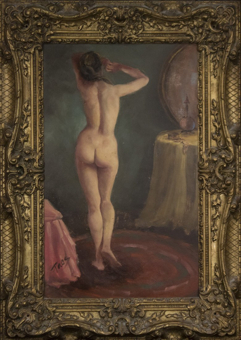 STANDING NUDE FEMALE IN BOUDOIR Oil/b Signed TAOS
