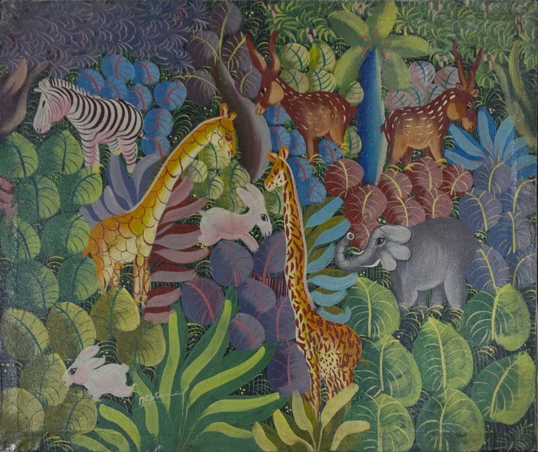 Haitian Art WILD ANIMALS IN THE JUNGLE oil/c by Neptune