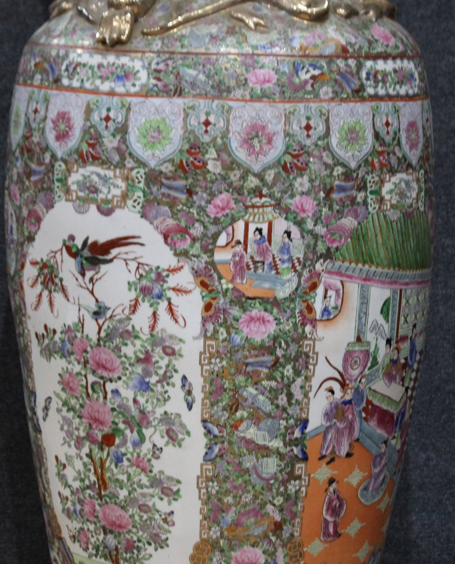 PAIR LARGE FAMILLE ROSE PORCELAIN TEMPLE VASES 51 in. H - 10