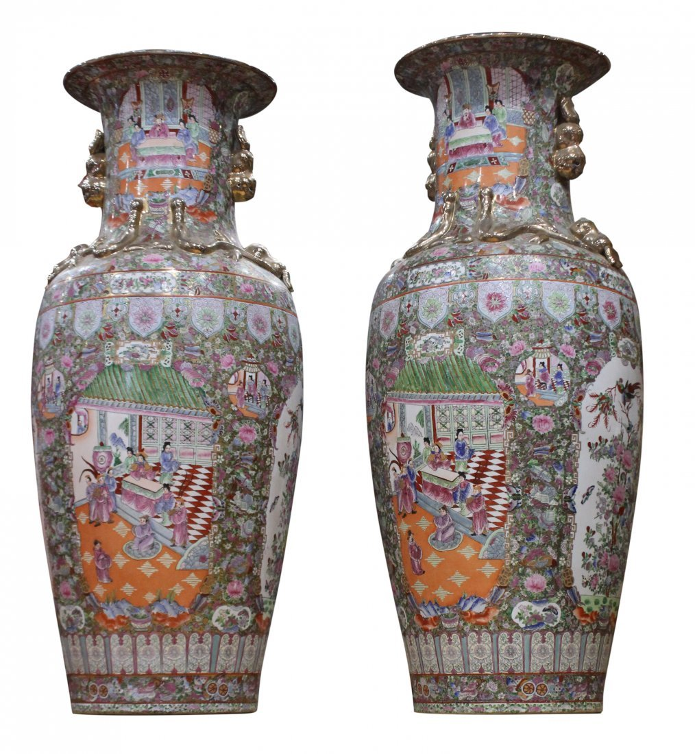 PAIR LARGE FAMILLE ROSE PORCELAIN TEMPLE VASES 51 in. H