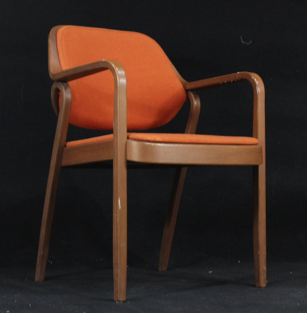 KNOLL INTERNATIONAL Bentwood Arm Chair Orange Upholster