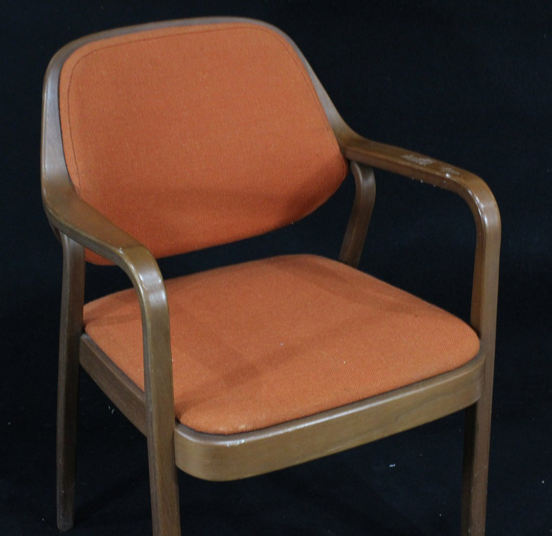 KNOLL INTERNATIONAL Bentwood Arm Chair Orange Upholster - 2