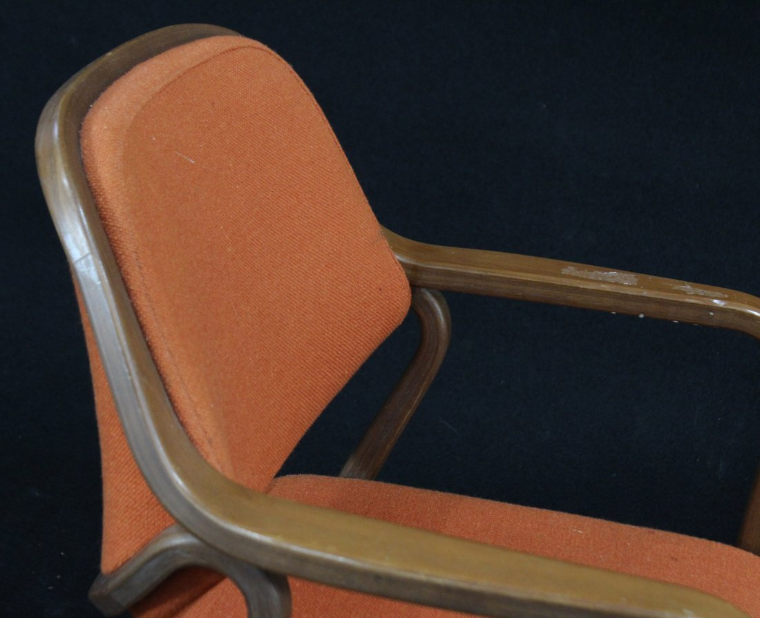 KNOLL INTERNATIONAL Bentwood Arm Chair Orange Upholster - 3