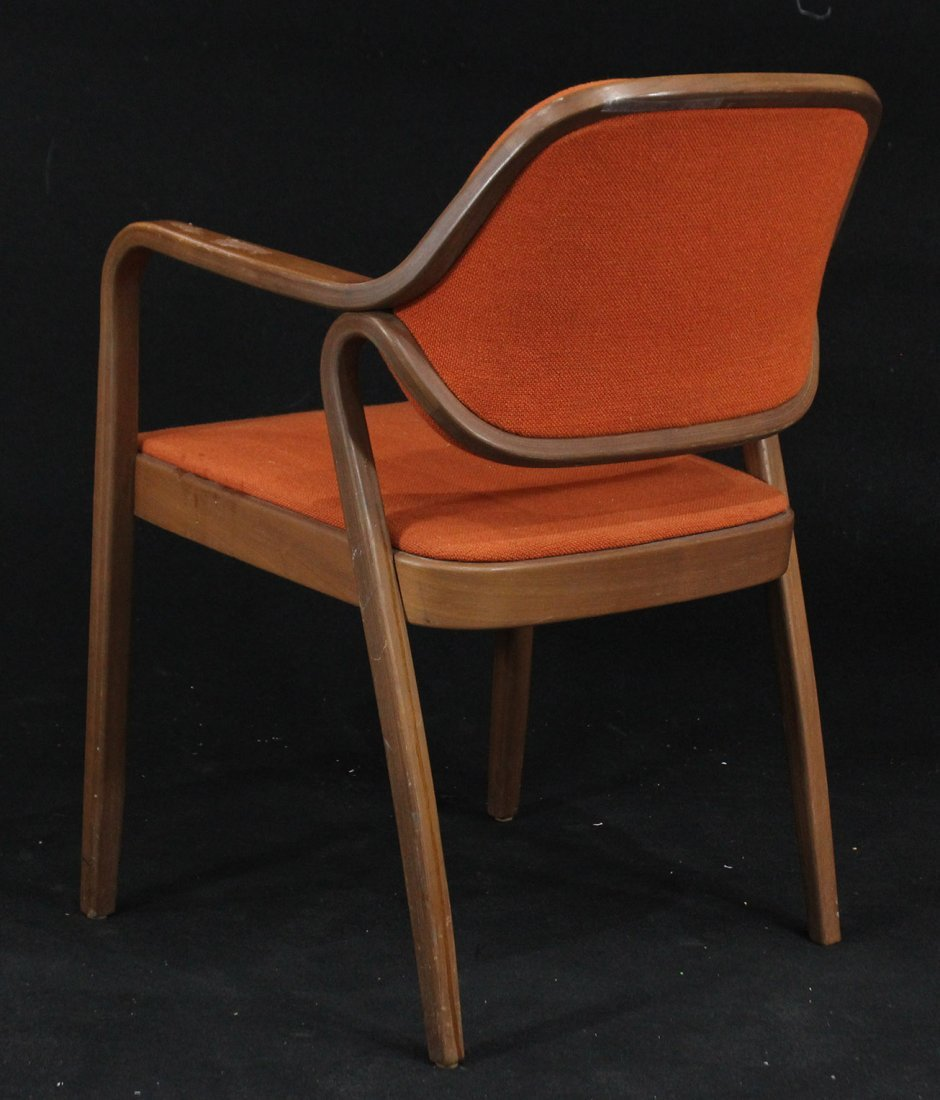 KNOLL INTERNATIONAL Bentwood Arm Chair Orange Upholster - 7
