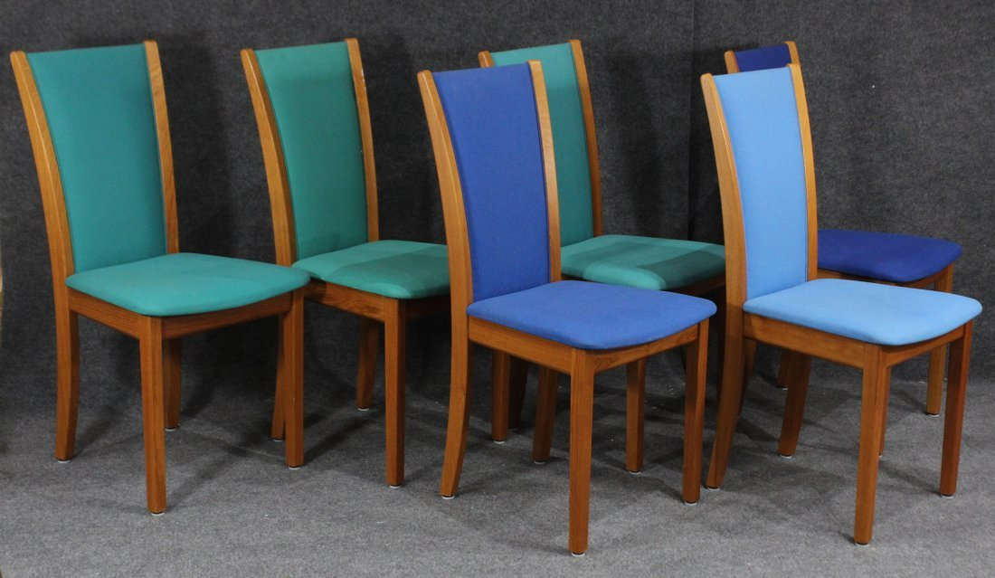 SKOVBY DENMARK Set 6 Teak Dining Chairs Tall Backs