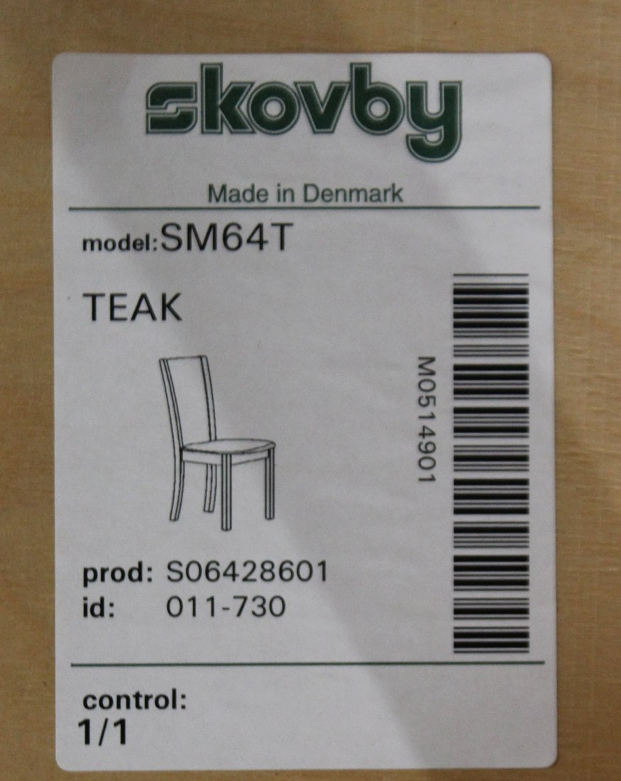 SKOVBY DENMARK Set 6 Teak Dining Chairs Tall Backs - 6