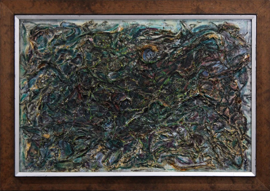 YEE, MID CENTURY MODERN ABSTRACT HEAVY IMPASTO OIL/B