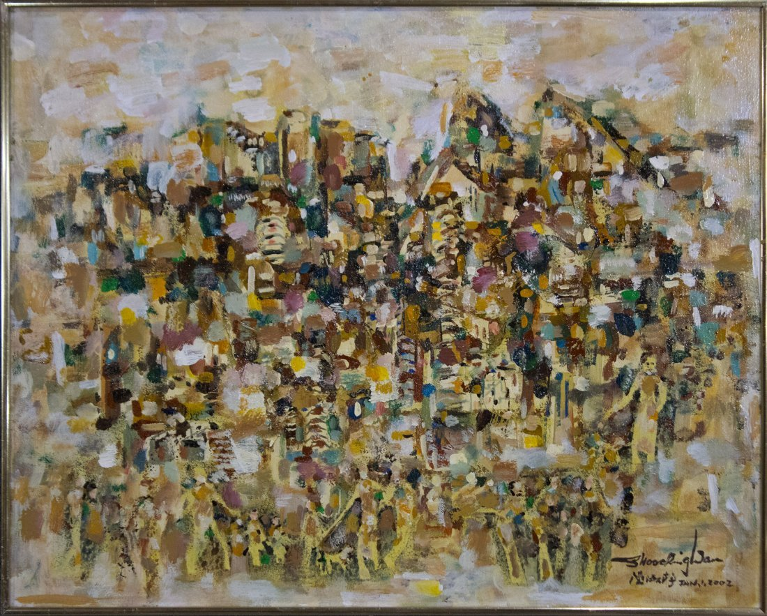 ABSTRACT OIL VILLAGE OF MANY PEOPLE FIGURES Signed