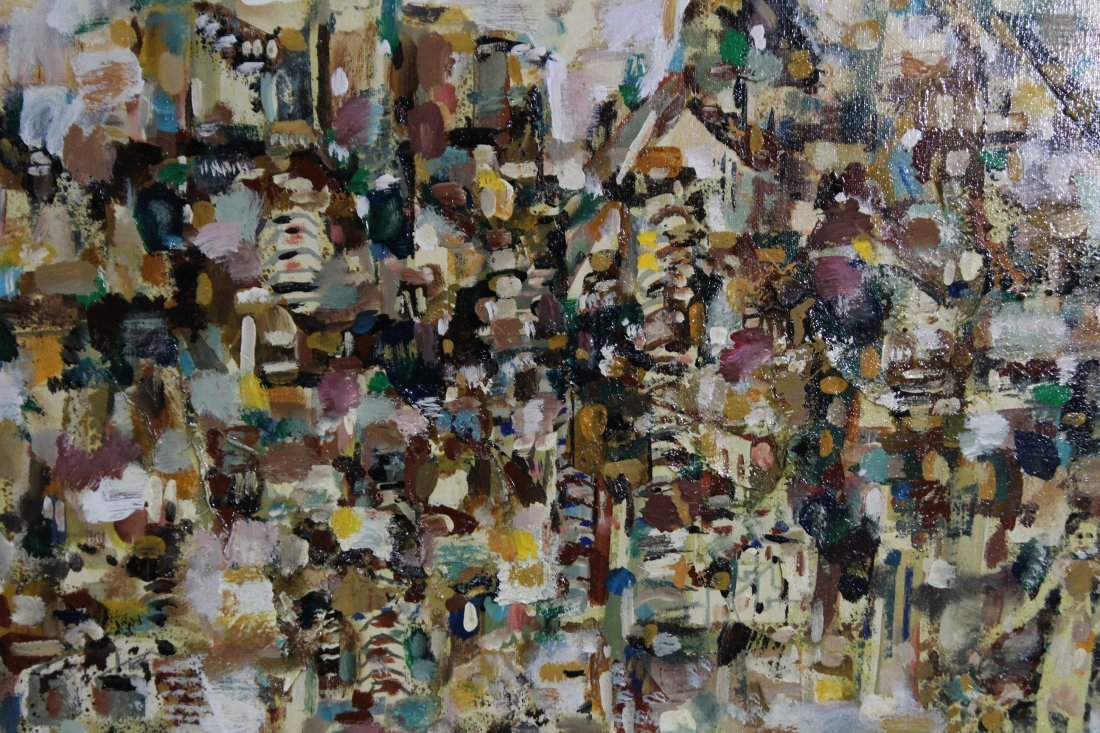 ABSTRACT OIL VILLAGE OF MANY PEOPLE FIGURES Signed - 2