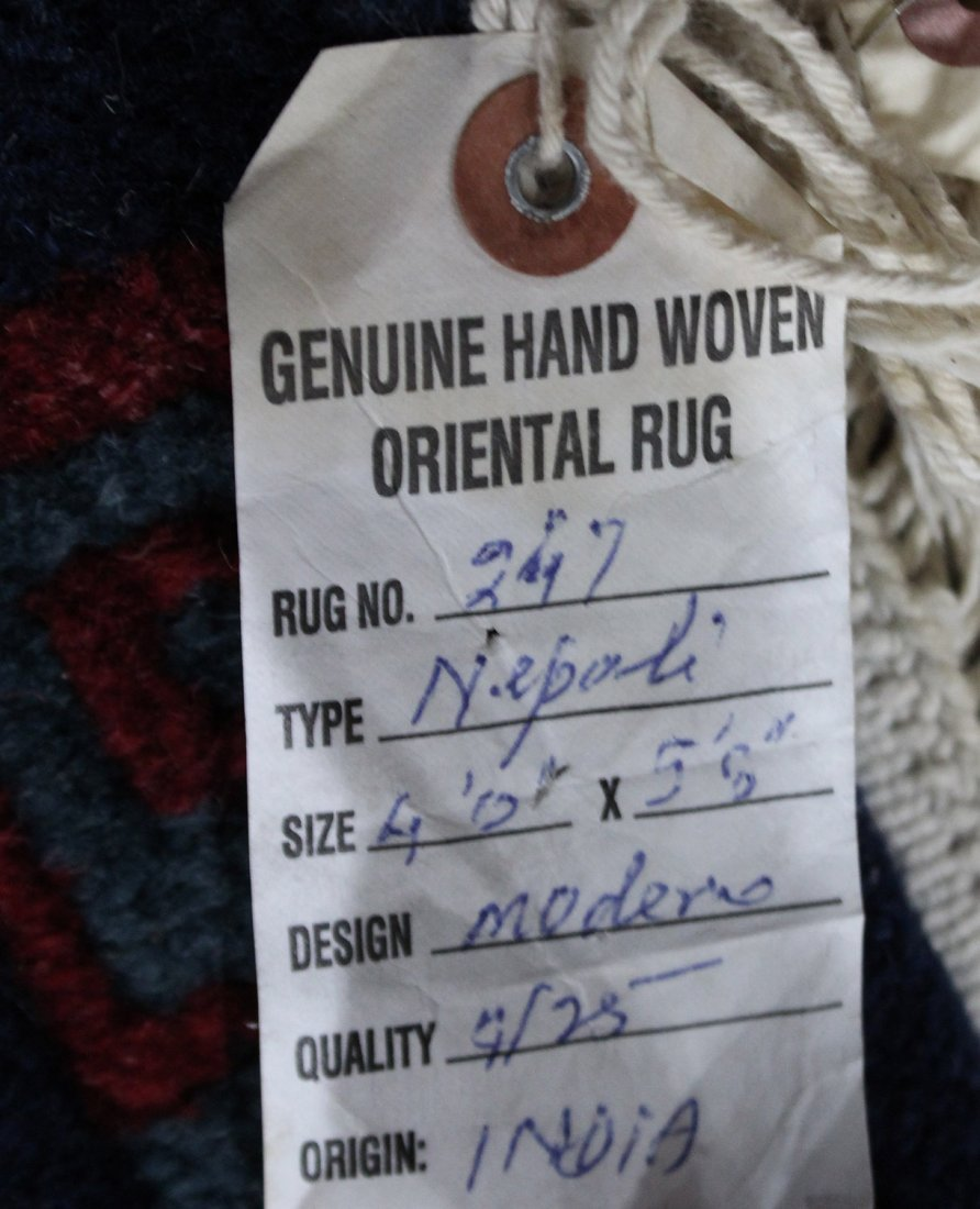 HAND MADE NAVY BLUE FIELD AREA RUG GEOMETRIC BORDERS - 3