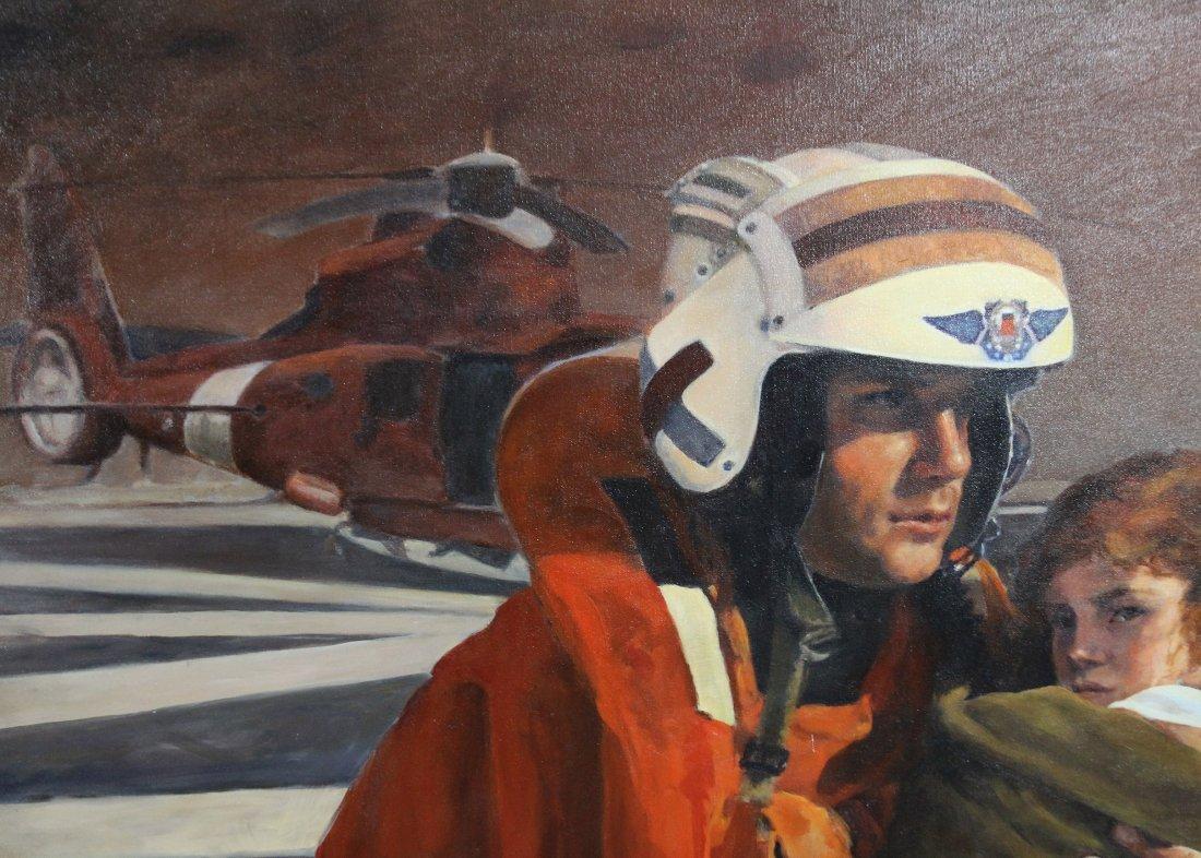 Original AVIATION ILLUSTRATION OIL Signed B R BATESKA - 2