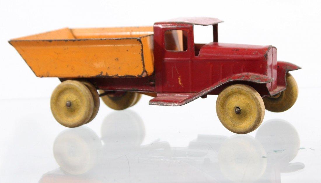 Antique PRESSED STEEL DUMP TRUCK Red Orange