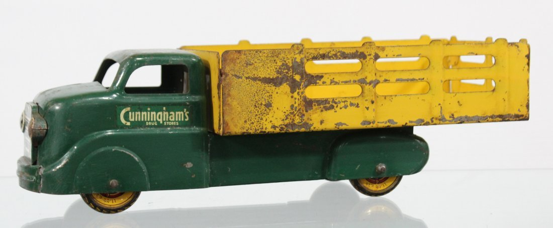 Antique MARX CUNNINGHAM'S PRESSED STEEL STAKE BED TRUCK