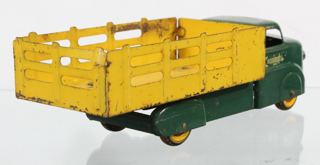 Antique MARX CUNNINGHAM'S PRESSED STEEL STAKE BED TRUCK - 5