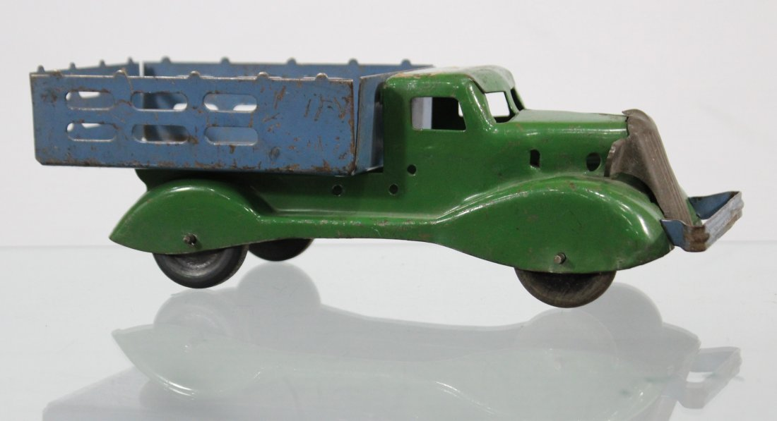 Antique PRESSED STEEL STAKE BED TRUCK Blue Green