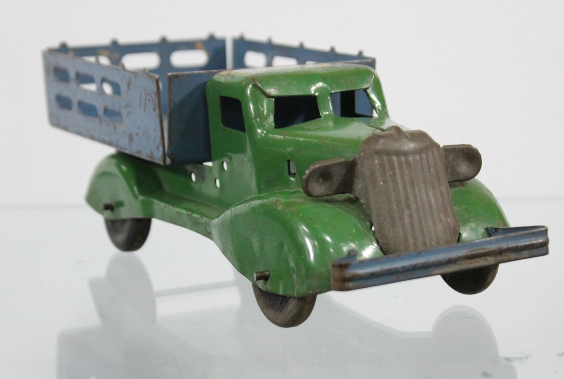 Antique PRESSED STEEL STAKE BED TRUCK Blue Green - 2