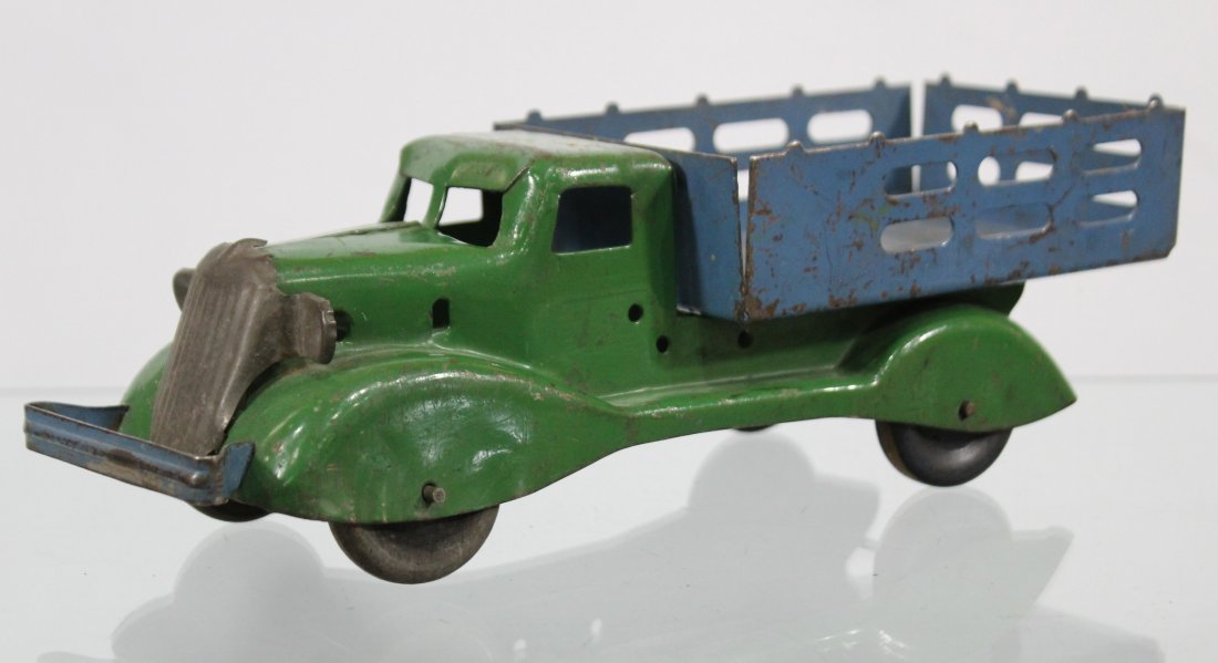 Antique PRESSED STEEL STAKE BED TRUCK Blue Green - 3