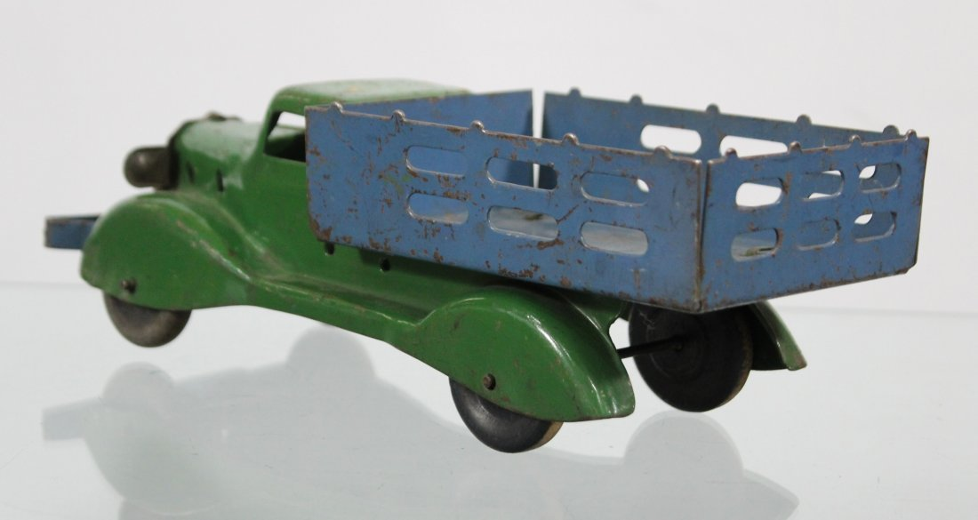 Antique PRESSED STEEL STAKE BED TRUCK Blue Green - 4