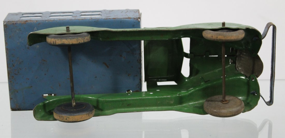 Antique PRESSED STEEL STAKE BED TRUCK Blue Green - 5