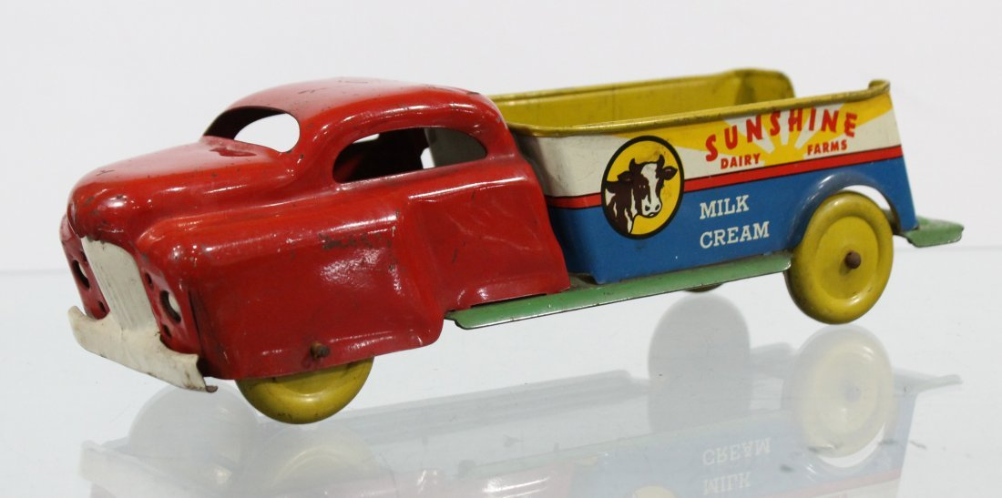 Antique SUNSHINE DAIRY FARMS PRESSED STEEL TRUCK - 3