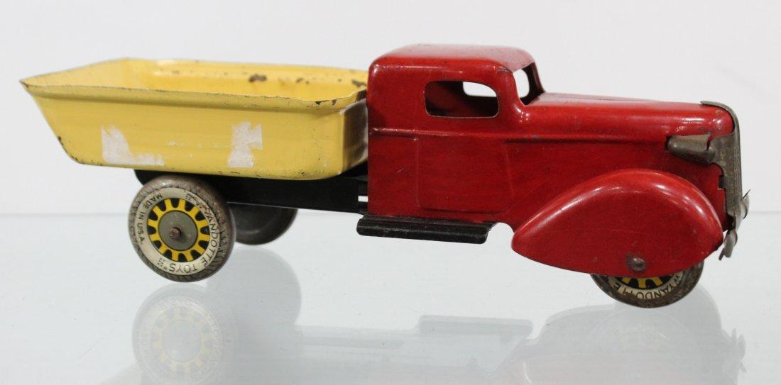 Antique WYANDOTTE PRESSED STEEL DUMP TRUCK Red Yellow