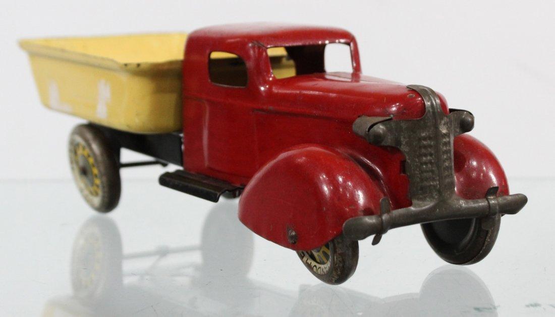 Antique WYANDOTTE PRESSED STEEL DUMP TRUCK Red Yellow - 3
