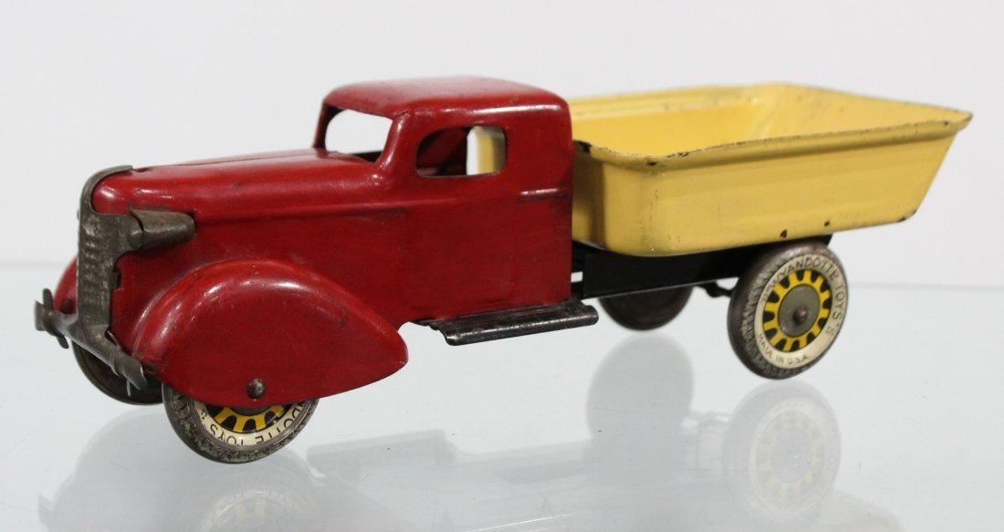 Antique WYANDOTTE PRESSED STEEL DUMP TRUCK Red Yellow - 4