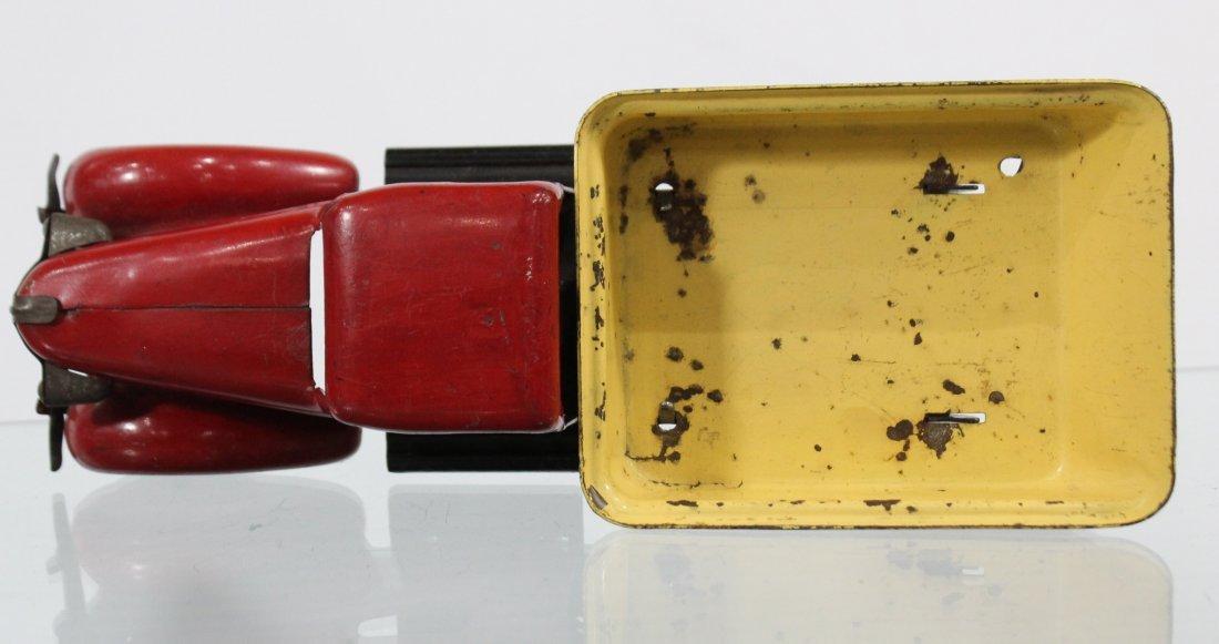 Antique WYANDOTTE PRESSED STEEL DUMP TRUCK Red Yellow - 5