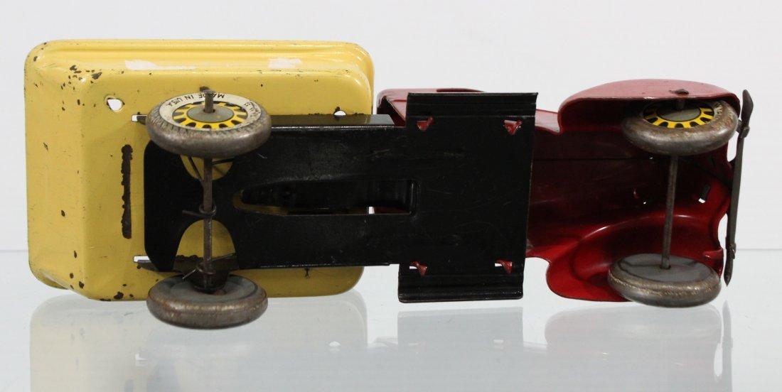 Antique WYANDOTTE PRESSED STEEL DUMP TRUCK Red Yellow - 6