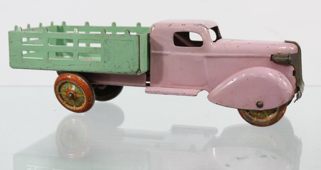 Antique PRESSED STEEL STAKE BED TRUCK Pink Green