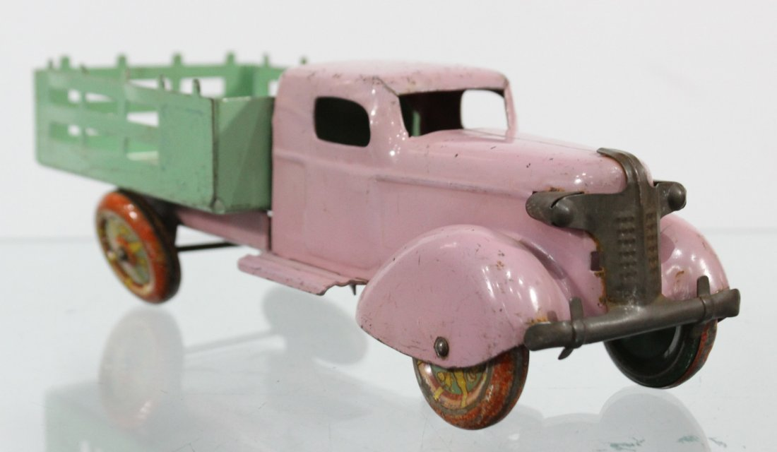 Antique PRESSED STEEL STAKE BED TRUCK Pink Green - 2