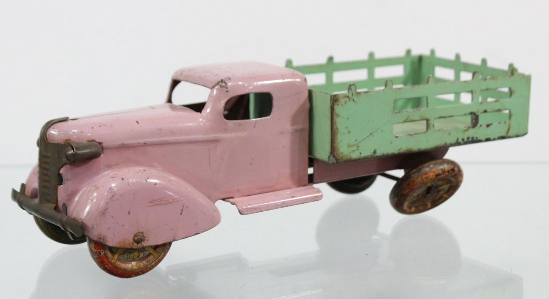 Antique PRESSED STEEL STAKE BED TRUCK Pink Green - 3