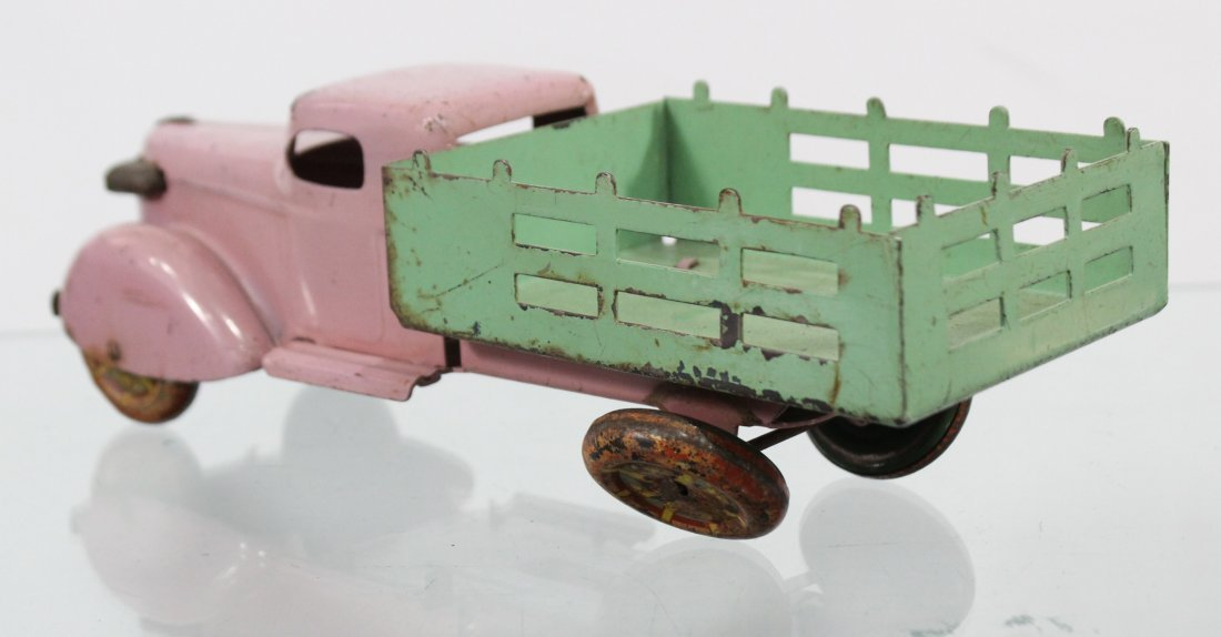 Antique PRESSED STEEL STAKE BED TRUCK Pink Green - 4