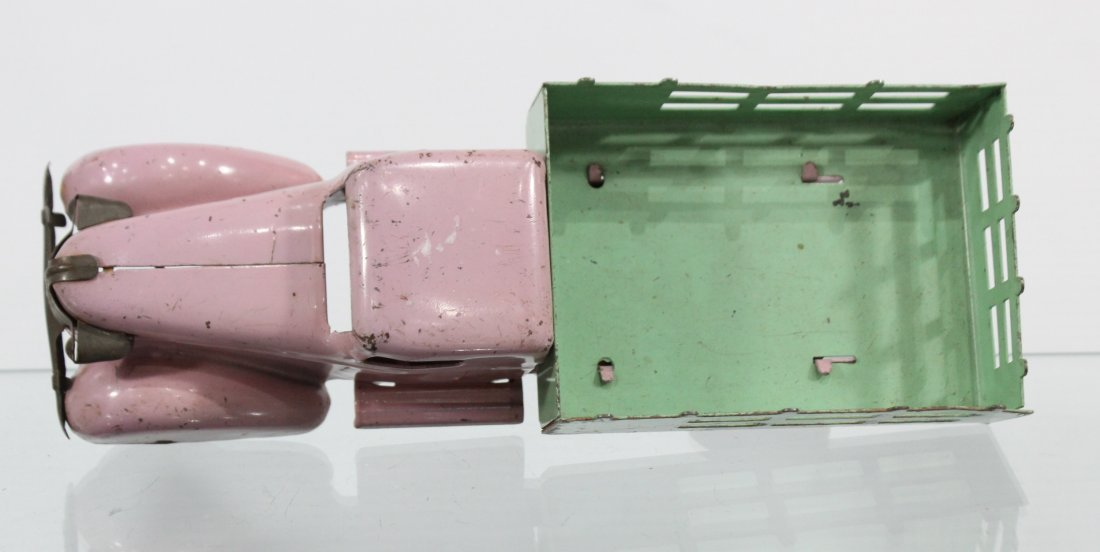 Antique PRESSED STEEL STAKE BED TRUCK Pink Green - 6