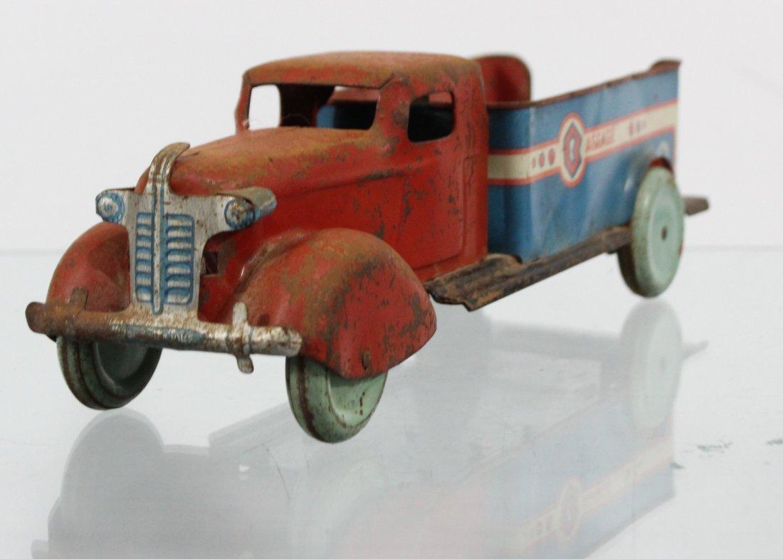 Antique PRESSED STEEL BAGGAGE TRUCK Red Blue