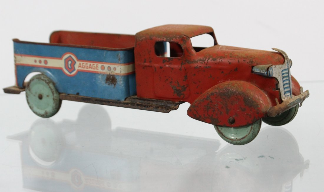Antique PRESSED STEEL BAGGAGE TRUCK Red Blue - 3