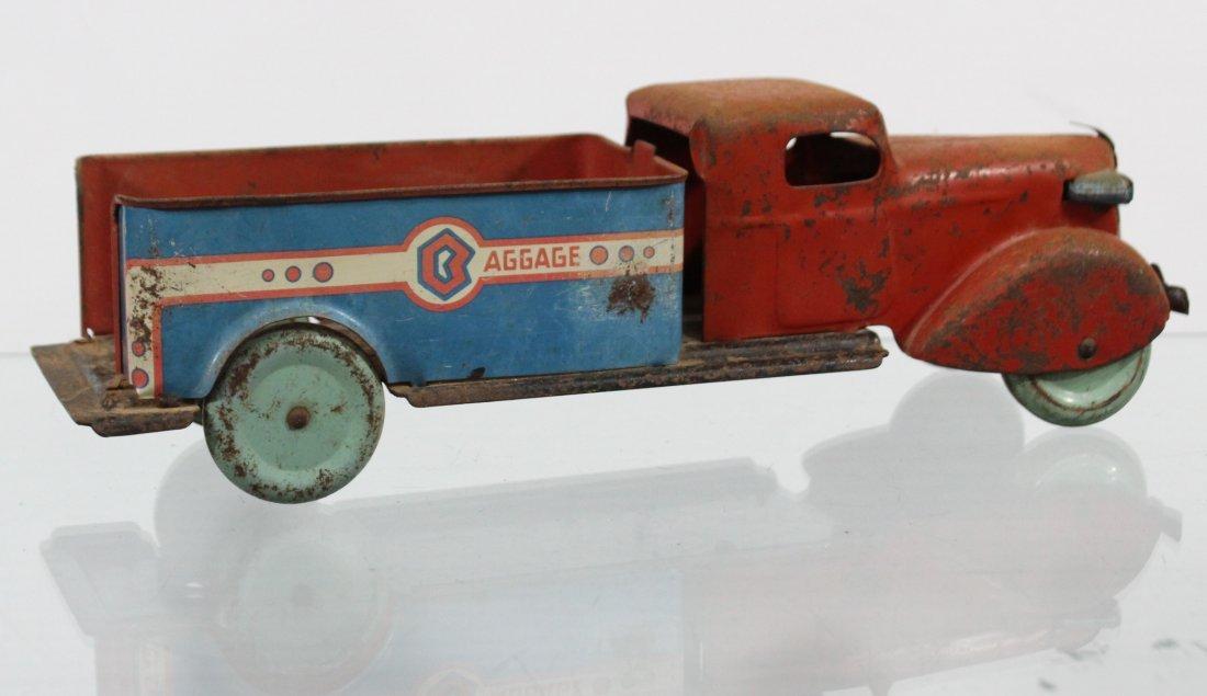 Antique PRESSED STEEL BAGGAGE TRUCK Red Blue - 4