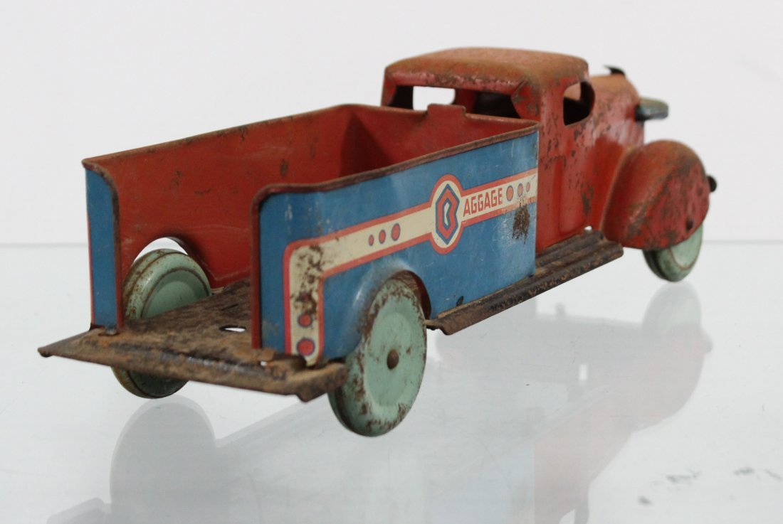Antique PRESSED STEEL BAGGAGE TRUCK Red Blue - 5